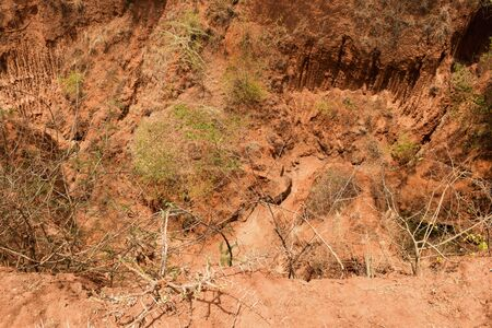 Scenic gorges caused by slide soil erosion in Kenya