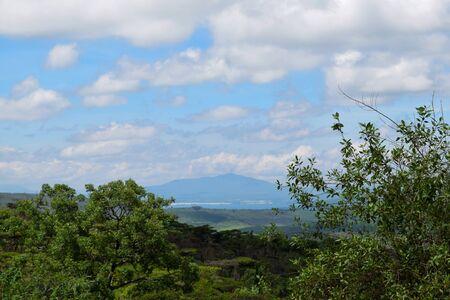 An aerial view of Lake Naivasha and Mount Longonot