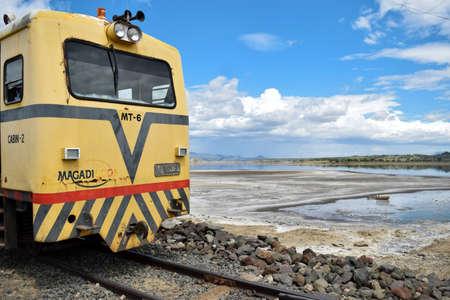 An old train in the shores of Lake Magadi- May 2015, Magadi, Rift Valley