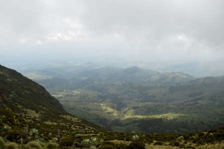 An aerial view of scenic mountain landscapes in the Aberdares, Kenya