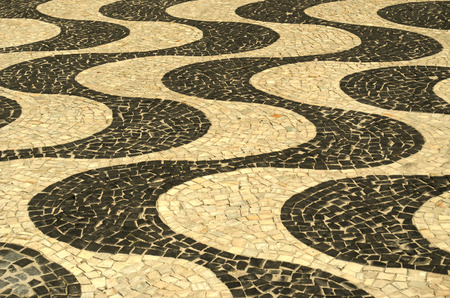 appoints: typical sidewalk of Rio de Janeiro designed by Oscar Niemeyer Stock Photo