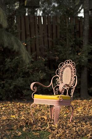 silla de madera: Aislado rosa de metal silla antigua en un jardín de otoño Foto de archivo