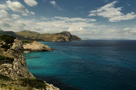 sea cliff: Turquoise Mediterranean Sea off the coast of Mallorca Stock Photo