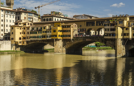 river arno: view of the Ponte Vecchio in Florence city