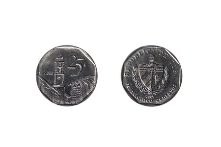 25 cents: front and back of a Cuban coin twenty five cents