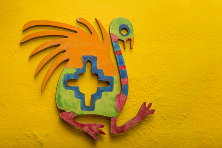 Colorful piece that reproduces ancient Inca ostrich design