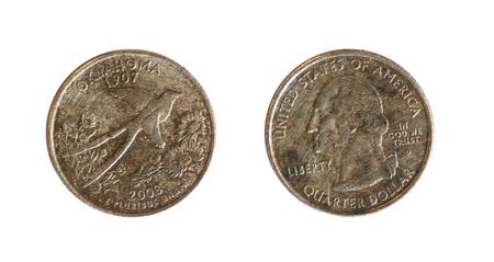 dolar: anverso y reverso de una moneda americana de un dolar trimestre