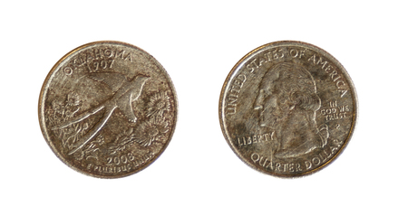 dolar: front and back of a american currency of one quarter dolar