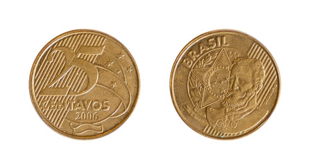 25 cents: front and back of a Brazilian currency of a 25 cents Stock Photo