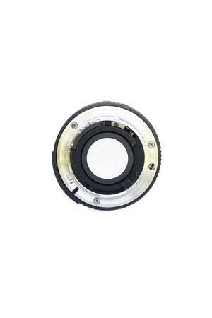 50mm: 50mm lens seen from behind isolated on white background Stock Photo