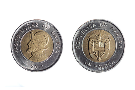 front and back of panamanian coin of one balboa on white background Stock Photo