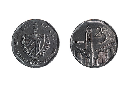 25 cents: front and back of twenty-five cents cuban coin on white background