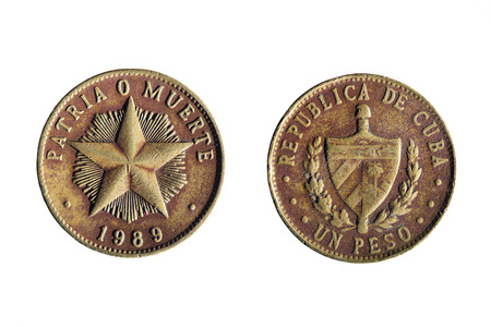 front and back of a cuban peso on white background Stock Photo