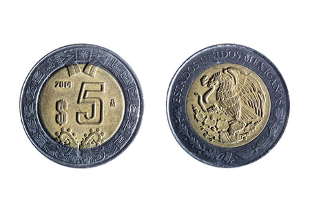 two party system: front and back of a five peso mexican coin on white background Stock Photo