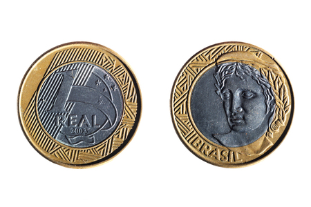 front and back of a brazilian real coin on white background