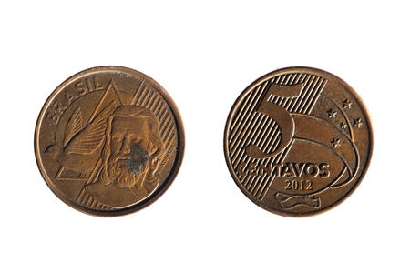 25 cents: front and back of a brazilian real  five cents coin on white background Stock Photo