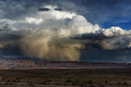 impressive storm that falls on the mountains of the Andes in the Argentine Puna