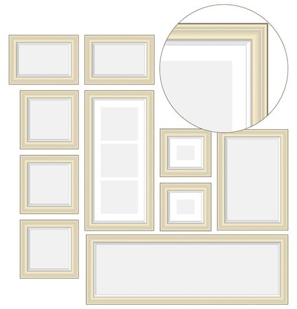 An empty wooden frame, illustrations for your design