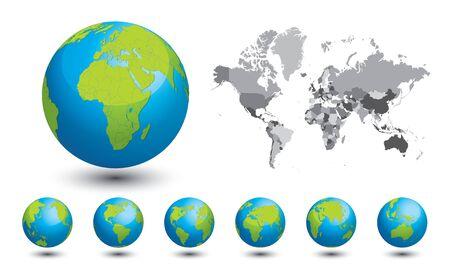 Mapa blanco y negro del mundo. Un conjunto de globos con diferentes continentes para su diseño.