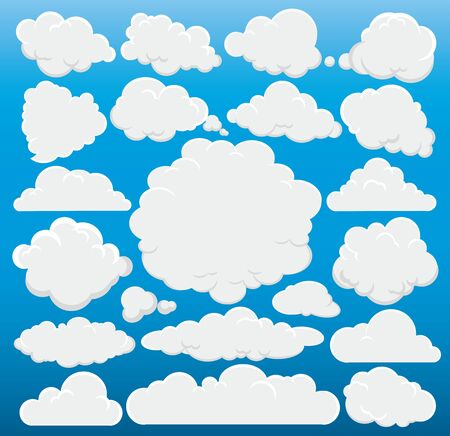 Cartoon cute cloud trendy design set isolated on blue background for your design