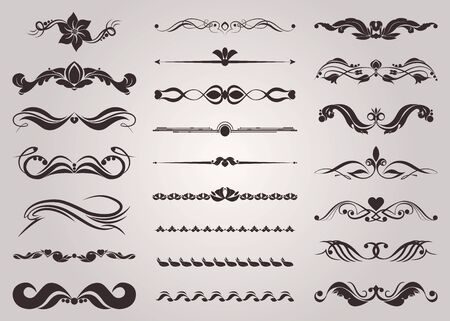 Collection of decorative elements for the design of pages Ilustrace