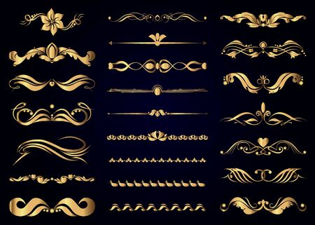 Collection of gold vintage decorative elements for page decoration