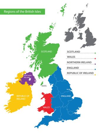Color detailed map of the regions and countries of the British Isles for your design