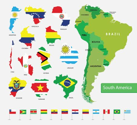 Color map of South America, flags on country silhouettes