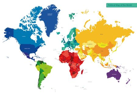Color political map of the world with country names for your design