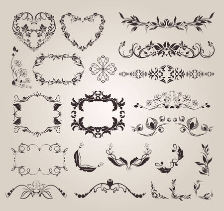 Decorative elements Hand drawn dividers set, Calligraphic ornamental