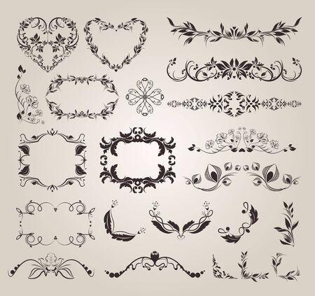 Decorative elements Hand drawn dividers set, Calligraphic ornamental