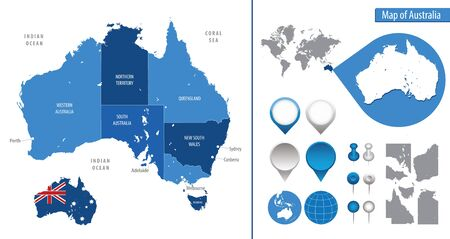 Detailed map of Australia for your design Ilustrace