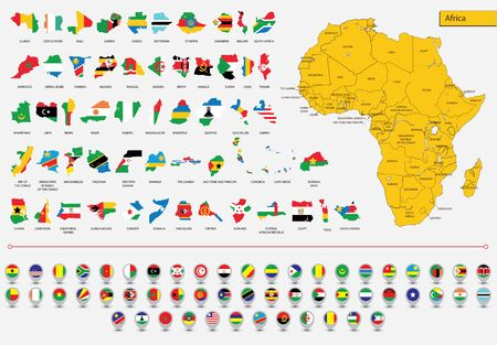 Detailed map of the African continent, Cards African flags and icons