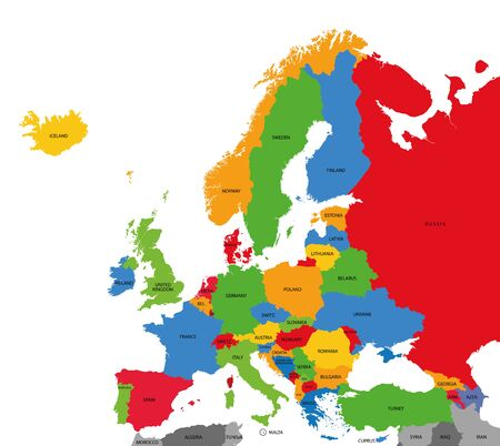 Mappa politica dettagliata dell'Europa