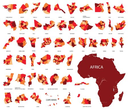 Map of Africa, country regions African continent illustration for design