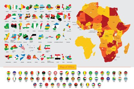 Map of Africa, Flags of African countries