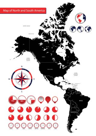 Map of North and South America, Icons, location indicators Reklamní fotografie - 133998053