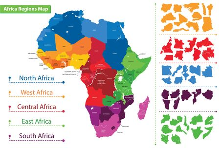 Map of the regions of Africa. Map of Africa Ilustrace