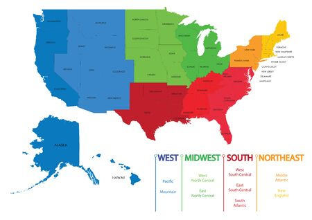 Map of United states of america regions, Maps USA