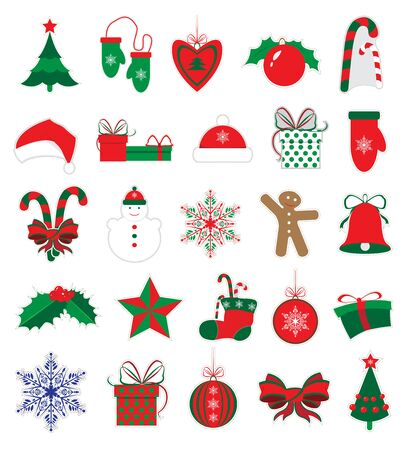 Merry Christmas and New Year stickers set