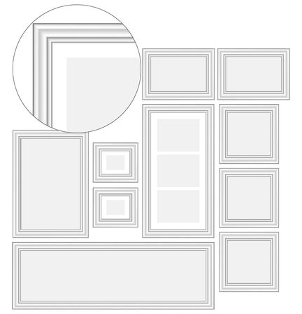 Set of blank white frames for photos and pictures, illustration for design Ilustrace