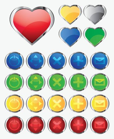 Set of multicolored buttons, 3d icons illustration