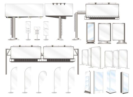 Set illustrations of advertising constructions and outdoor billboard for your design