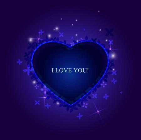 illustration background sparkling heart, valentines day