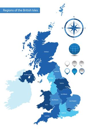 map of the regions of the British Isles for your design Ilustrace