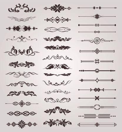 set of vintage elements for design, Border decorative suitable for vignette manuscript and certificate document Illustration