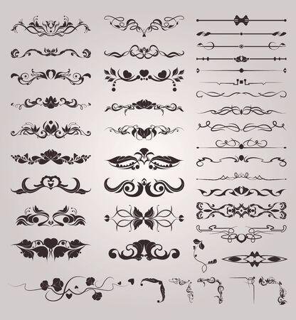 Conjunto de monogramas vintage y elementos decorativos de bordes.