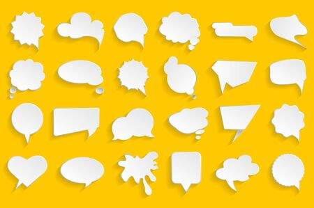 White blank speech bubbles on yellow background