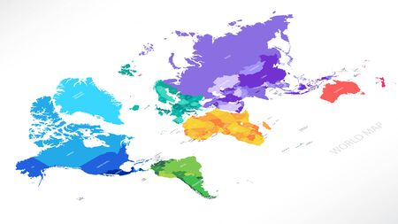 Bright colorful political map in isometry with the names of countries, each continent in different color blank for design Ilustrace