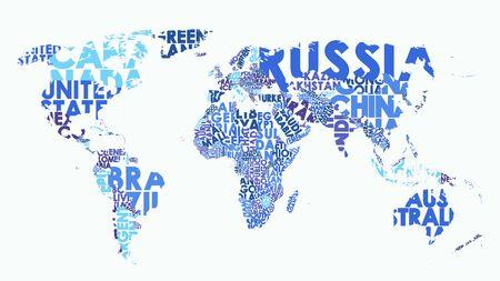 Farbpolitische Karte der Welt, bestehend aus Ländernamen, Textzusammensetzung detaillierte Vektorillustration leer für Design